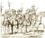 Archers, arquebusier, pistolier d'après Perrisin et Tortorel XVIe