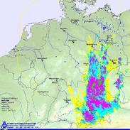 Bildquelle: Deutscher Wetterdienst | Radarbild am 02.06.2013 um 16:45 UTC.