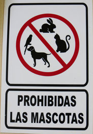 Hinweis im Hotelzimmer. Haustiere nicht erlaubt!