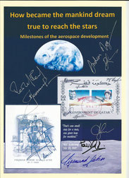 Exhibition cover orig. signed by Leonow, Ewald, Jähn, Nespoli, Mogensen, Artemjew and Romanenko