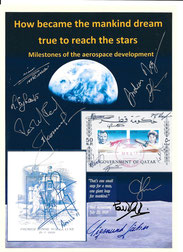 Exhibition cover orig. signed by Leonow, Ewald, Jähn, Nespoli, Momand, Eyharts, Mogensen, Artemjew and Romanenko