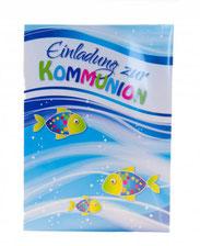 Kommunionkarte 5er Set Einladung und bunte Fische
