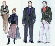 Männer und Frauen mit extravaganten Details im Gewand
