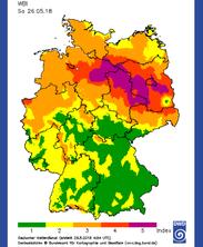 Waldbrandgefahrenindex des DWD vom 26. Mai 2018