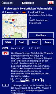 Promobil-App des Stellplatzes in Zweibrücken