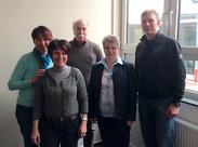 JPRS-Schulleiterin Jutta Tschakert, Herr von der Fecht und Frau Schaeffer empfangen ihre Kollegen aus Chaumont
