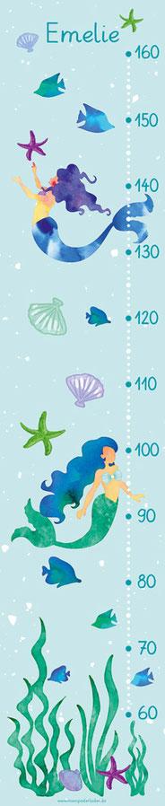 Kindermesslatte mit kleinen Meerjungfrauen im Aquarellstil -  auf Posterpapier gedruckt oder als Wandaufkleber