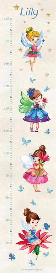 Kindermesslatte mit kleinen Blumenfeen im Aquarellstil -  auf Posterpapier gedruckt oder als Wandaufkleber