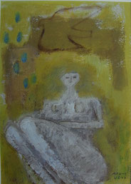 Woman and Bird  21×15cm  Oil on paper  Private collection