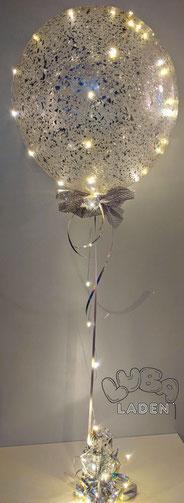 Konfettiballon silber mit Led Lichterkette Ballonladen Luba