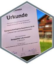 Auszeichnung für Berggasthof Hummelei in Oberaudorf