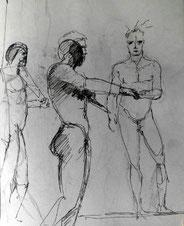 Zeichnungen, Menschen, stehend, Antike