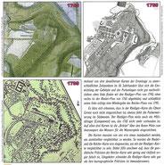 Pläne der Eremitage mit verschiedenen Ausbaustufen: 1745, 1765, 1795