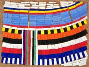 Ellen Roß: Il grande fiume n°1, 2011, Assemblage, Vinyl auf Holz auf MDF-Platte, 70 x 100 cm