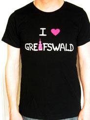 I love Greifswald-Shirt für Sie und Ihn, braun (Coco und Cornelius) mit weißer Schrift und pinkem Herz/Turm.