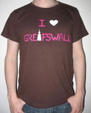 I love Greifswald-Shirt für Sie und Ihn, braun (Bernard und Bianca) mit pinker Schrift und weißem Herz/Turm.