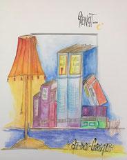 Häuser, bunt, Nacht, ungerahmt, Aquarell, handgemalt von Künstlerin JULIA! Neulinger -Kahl
