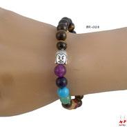 Bracelet d'harmonisation bouddha élastique en perles de pierres d'oeil de tigres et pierres précieuses