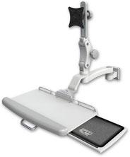 医療向け ウォールチャネルマウント ディスプレイキーボード ワークステーションアーム :ASUL550-W5-KUP-A1