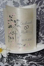 Hochzeitskerze silber rose