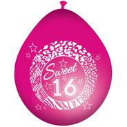 Sweet 16 Roze Ballonnen -  8 stuks € 2,75