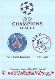 Programme pirate  PSG-Ajax  2014-15