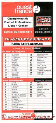 Programme  Guingamp-PSG  2003-04