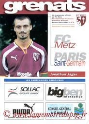 Programme  Metz-PSG  2001-02