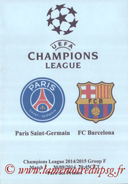Programme pirate  PSG-Barcelone  2014-15