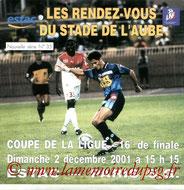 Programme  Troyes-PSG  2001-02