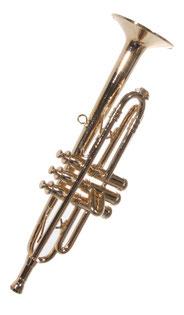 Miniatur-Trompete aus Messing mit 12 cm Länge.