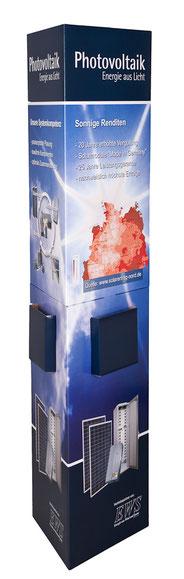 Ellipsensäule Faltsäule aus Pappe Pappsäule Werbesäule Pop-up oval POS Säule Pappaufsteller Säulendisplay mit Fensterstanzung und Bodenplatte innen mit Spreizmechanik