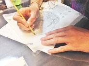 仏画の線画を写仏する