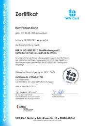 Zertifikat TAW F. Korte