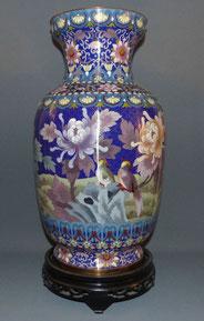 Details zu  Chinesische Cloisonne Vase, 51,0 cm Emailltechnik, Chrysanthemen, Vögel, Messing , € 650,00