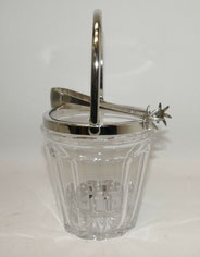 Eiswürfelbehälter, Rhodium, Kristallglas, geschliffen, WMF Eiswürfel Zange, € 265,00