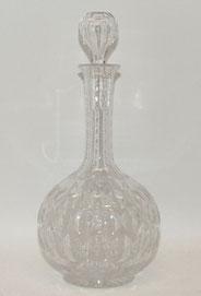 Kristall Karaffe, handgeschliffen, Lupenschliff, Luftblase im Stöpsel, 29,0 cm, € 150,00