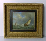 Hendrick Hulk, Seestück, Segelschiffe, Wellen, Öl auf Holz , € 1900,00