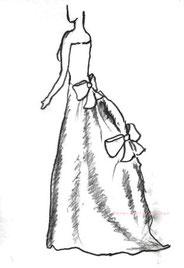 ドレスのシルエット バッスルバック