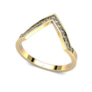Bague chevron or jaune  et diamants