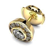 Boucles d'oreilles diamants entourage or jaune
