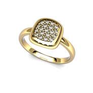 Pavé diamants coussin or jaune