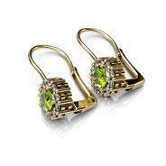 Boucles d'oreilles à bascule péridots et diamants or jaune