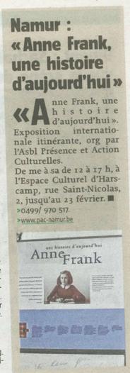 Article de l'Avenir du 7.02.2014