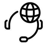 Logo: Zeichnung mit einer Weltkugel als Kopf, die ein Headset trägt