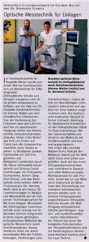 """Orthopedie Walter - Zeitungsausschnitt """"Optische Messtechnik für Einlagen"""""""""""