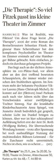 Theater im Zimmer feat. Sebastian Fitzek - Presseartikel Hambruger Wochenblatt
