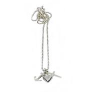 Grafisch schlichte 925 Silber Halskette mit Trendsymbol Anhänger für Glaube, Liebe und Hoffnung, Ein Geschenk zur Konfirmation oder Kommunion