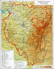 Физическая карта Башкирии