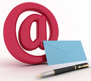 @-Zeichen mit Brief und Feder